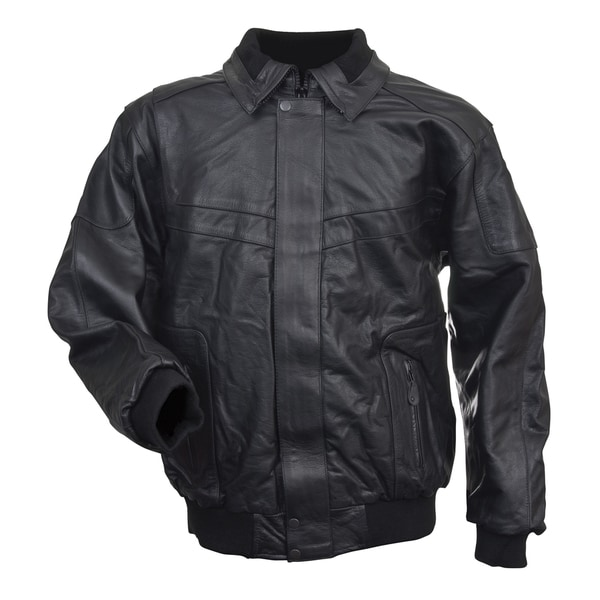Mossi Black Leather Snowmobile Jacket
