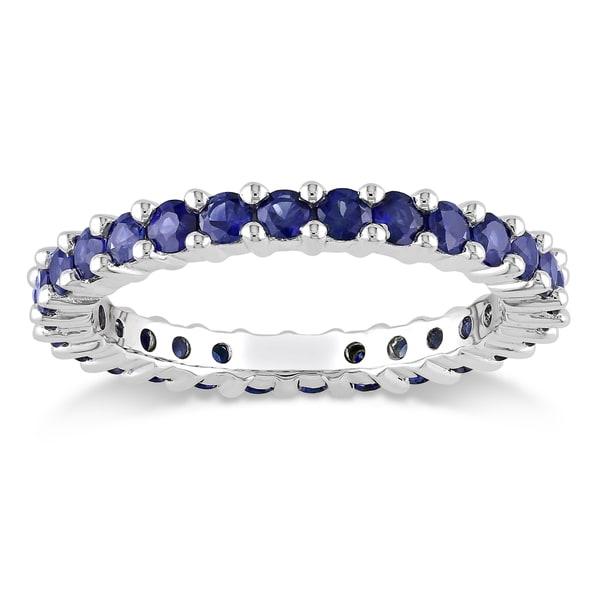 Miadora 14k White Gold Blue Sapphire Eternity Ring