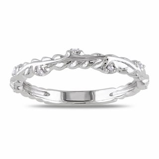 Miadora 14k White Gold Diamond Accent Wedding Band
