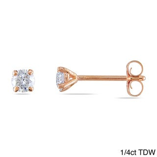 Miadora 14k Rose Gold 1/4 to 1ct TDW Diamond Stud Earrings (G-H, I1-I2)
