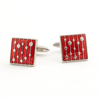 Cuff Daddy Silvertone Water Drop Red Cuff Links
