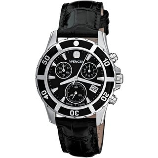 Wenger Women's Sport Elegance Chrono Black Dial Leather Watch