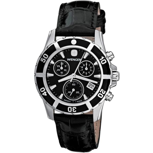 Wenger Women's Sport Elegance Chrono Black Dial Leather Watch
