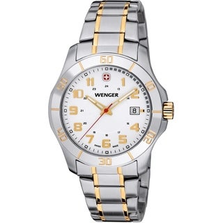 Wenger Men's Alpine Two-Ttne Silver Dial Stainless Steel Watch