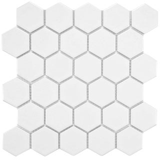 SomerTile 10.5x11 Victorian Hex 2-in Matte White Porcelain Mosaic Tile (Case of 10)