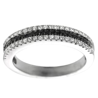 Tressa Silver Two-tone Black and White Cubic Zirconia Eternity Ring