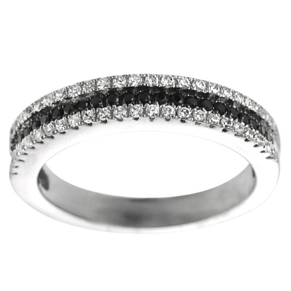 Journee Collection Silver Two-tone Black and White Cubic Zirconia Eternity Ring