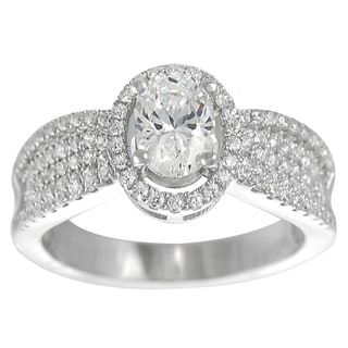 Tressa Sterling Silver Oval-cut Cubic Zirconia Engagement Ring