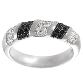 Tressa Two-tone Sterling Silver Pave-set Black and White Cubic Zirconia Ring