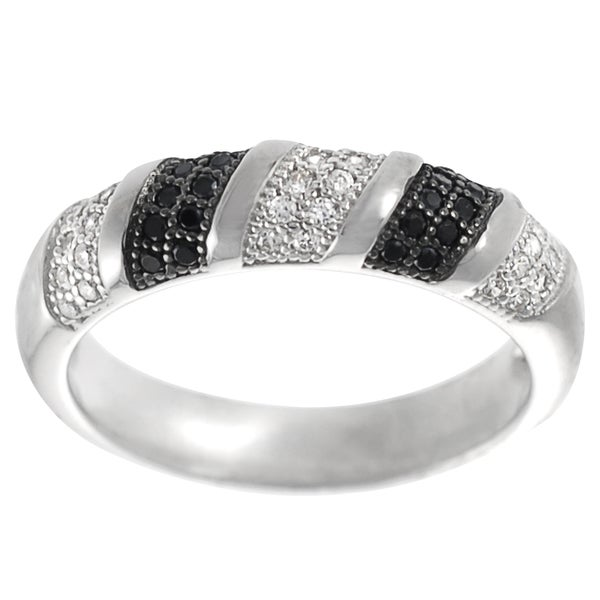 Journee Collection Two-tone Sterling Silver Pave-set Black and White Cubic Zirconia Ring