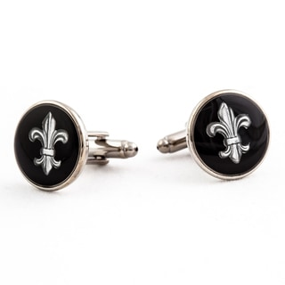 Cuff Daddy Silvertone Black Fleur de Lis Cuff Links