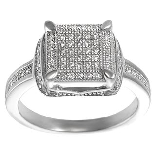 Tressa Sterling Silver Pave-set Cubic Zirconia Square Ring