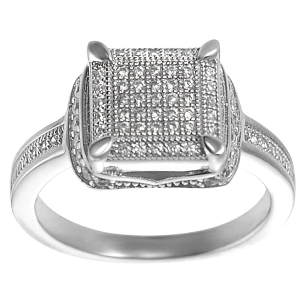 Journee Collection Sterling Silver Pave-set Cubic Zirconia Square Ring