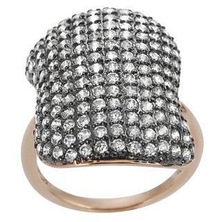 Journee Collection  Rose Gold and Rhodium-plated Silver Cubic Zirconia Vintage Ring