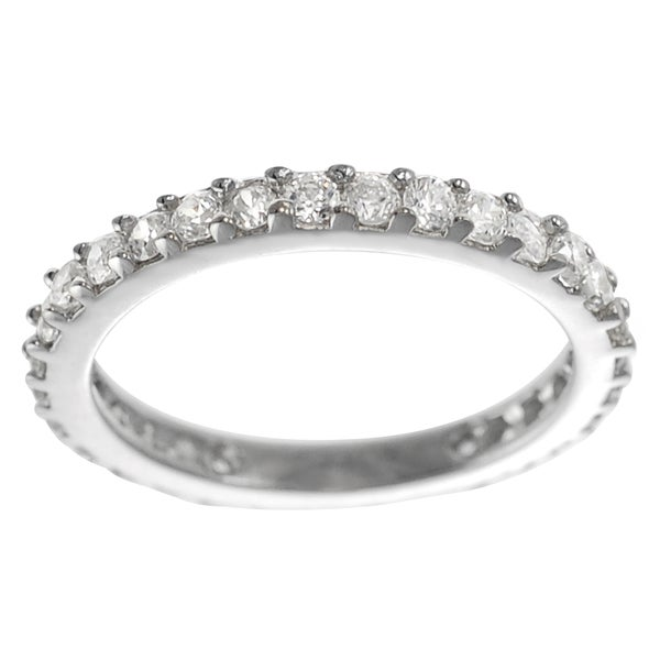Journee Collection Silver CZ Vintage Bridal-style Ring