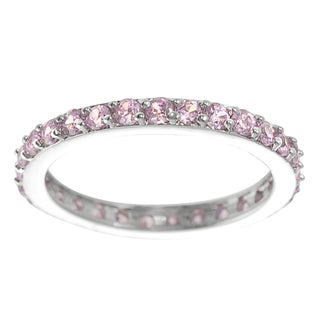 Journee Collection  Sterling Silver Pink Cubic Zirconia Eternity Ring