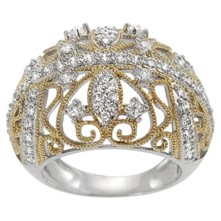 Journee Collection  Two-tone Goldplated Silver Cubic Zirconia Royal Vintage Ring