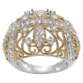 Tressa Two-tone Goldplated Silver Cubic Zirconia Royal Vintage Ring