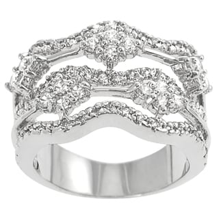 Journee Collection  Sterling Silver Cubic Zirconia Chandelier Statement Ring