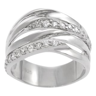 Journee Collection Sterling Silver Cubic Zirconia Contemporary Wave Ring