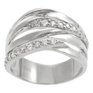 Tressa Sterling Silver Cubic Zirconia Contemporary Wave Ring