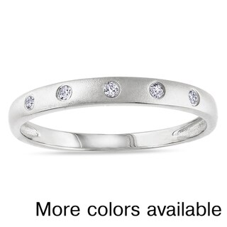 M by Miadora Plated Silver Diamond Accent Ring with Bonus Earrings