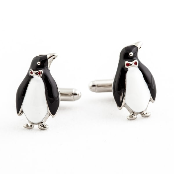 Cuff Daddy Silvertone Enamel Penguin Cuff Links