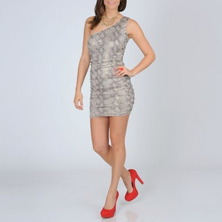 A. Byer Junior's One-shoulder Python Printed Dress