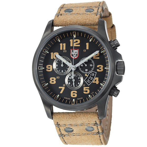 Luminox Men's 'Atacama' Black Dial Tan Leather Strap Quartz Watch