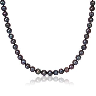 Miadora Black 11-12mm Freshwater Pearl Necklace (20-24 inch)