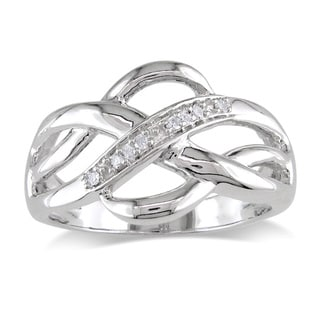 Miadora Sterling Silver Diamond Accent Criss-cross Ring
