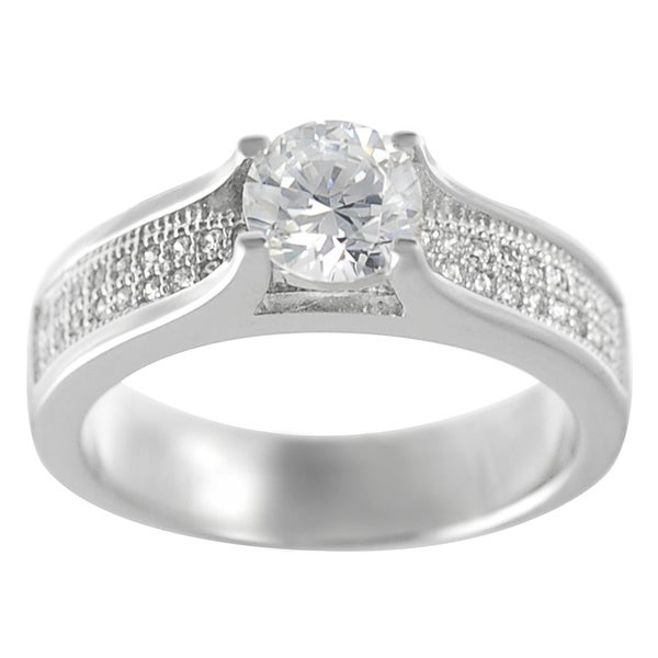 Journee Collection Sterling Silver CZ Bridal-style Ring