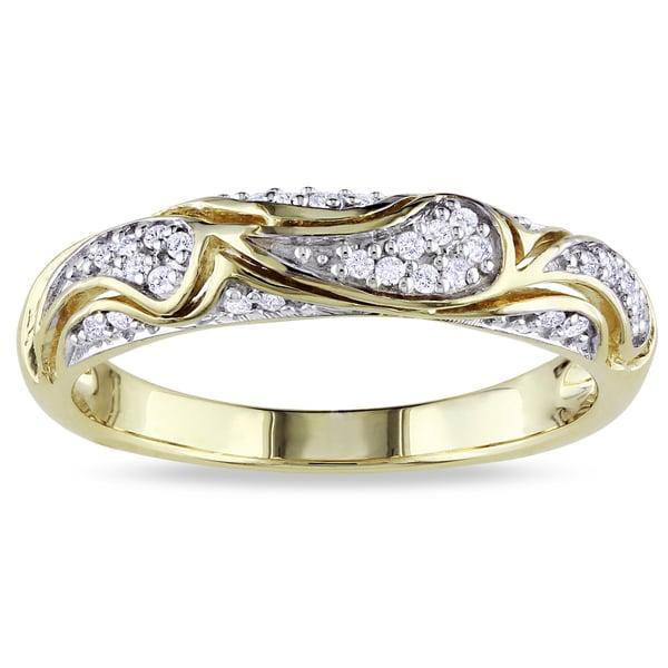 M by Miadora Yellow-plated Silver 1/10ct TDW Diamond Ring (I-J, I2-I3)