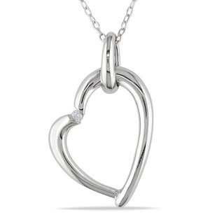 Haylee Jewels Sterling Silver Diamond Accent Heart Necklace