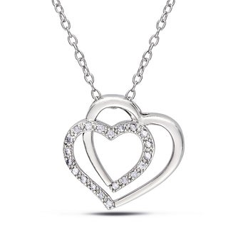 M by Miadora Sterling Silver 1/10ct TDW Diamond Heart Necklace (I-J, I2-I3)