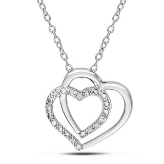 Miadora Sterling Silver 1/10ct TDW Diamond Heart Necklace (I-J, I2-I3)