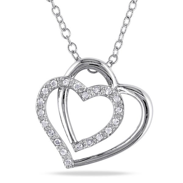 Miadora Sterling Silver 1/10ct TDW Diamond Double Heart Necklace (H-I, I2-I3)