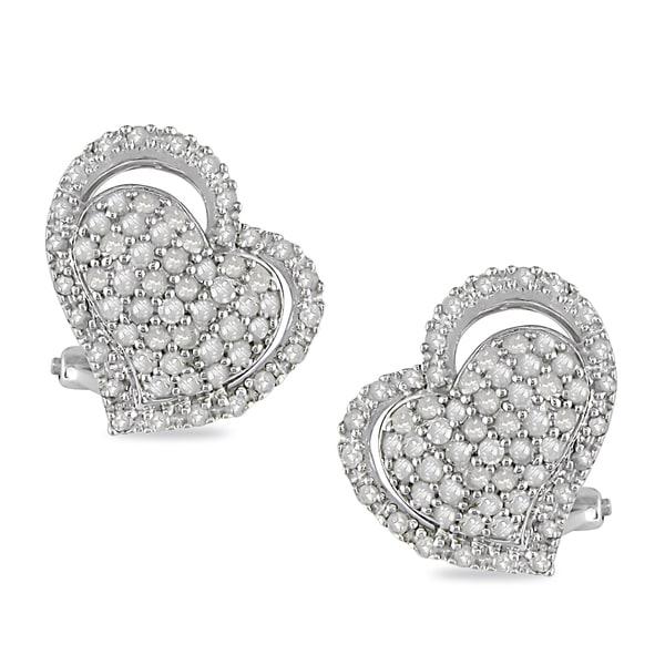 Miadora Sterling Silver 1ct TDW Diamond Heart Earrings (I-J, I2-I3)
