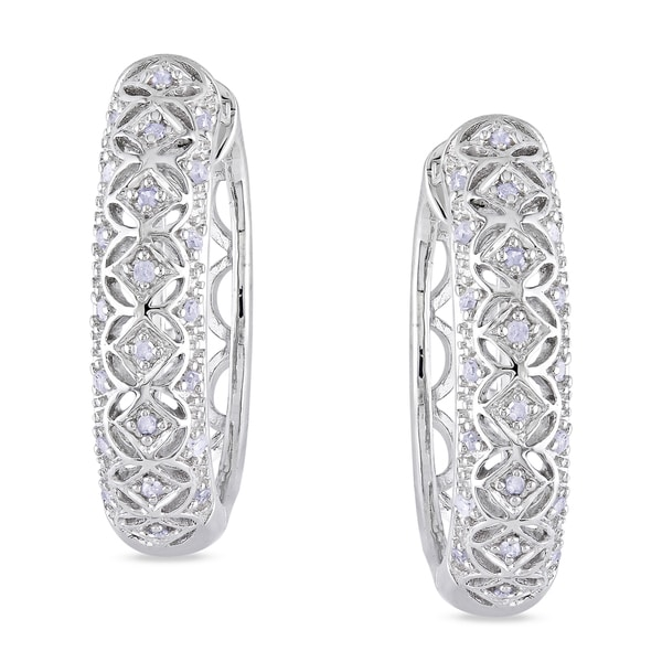 Haylee Jewels Sterling Silver 1/6ct TDW Diamond Hoop Earrings