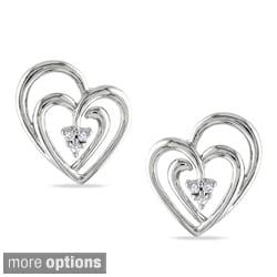 Miadora Sterling Silver Diamond Accent Heart Earrings