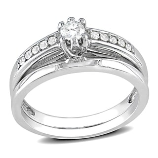 Miadora Sterling Silver 1/4ct TDW Diamond Bridal Ring Set (H-I, I2-I3) with Bonus Earrings