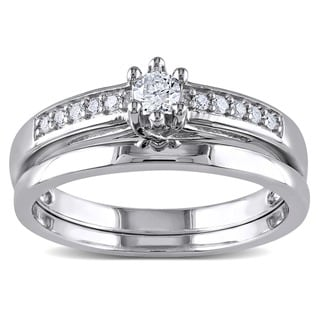 Miadora Sterling Silver 1/4ct TDW Diamond Bridal Ring Set