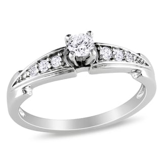 Miadora Sterling Silver 1/4ct TDW Diamond Promise-style Ring (H-I, I2-I3) with Bonus Earrings