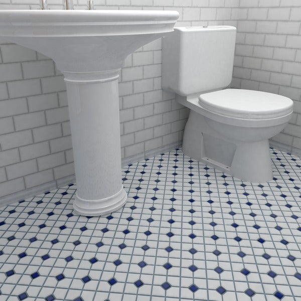 SomerTile 11.5x11.5-inch Cambridge Matte White with Cobalt Dot Porcelain Floor and Wall Tile (Case of 10)