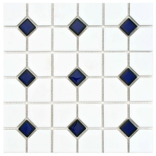Somertile 11.5x11.5-inch Cambridge Matte White with Cobalt Dot Porcelain Tiles (Set of 10)