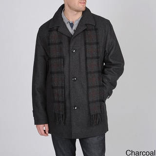 London Fog Men's Wool Blend 'Barrington' Car Coat with Scarf
