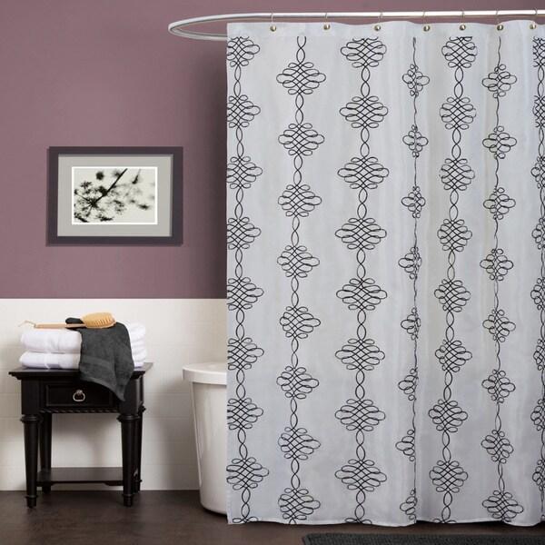 Lush Decor Celina White Shower Curtain
