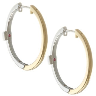 ELLE 14k Gold-plated Two-tone Sterling Silver Hoop Earrings