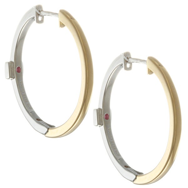 ELLE 14k Gold-plated Two-tone Sterling Silver Hoop Earrings