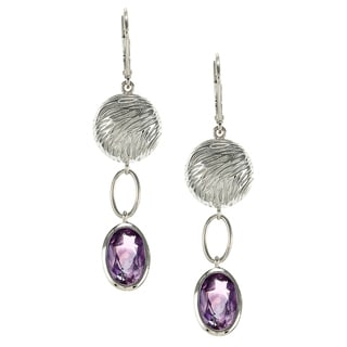 ELLE Rhodium-plated Sterling Silver Lever Amethyst Earrings